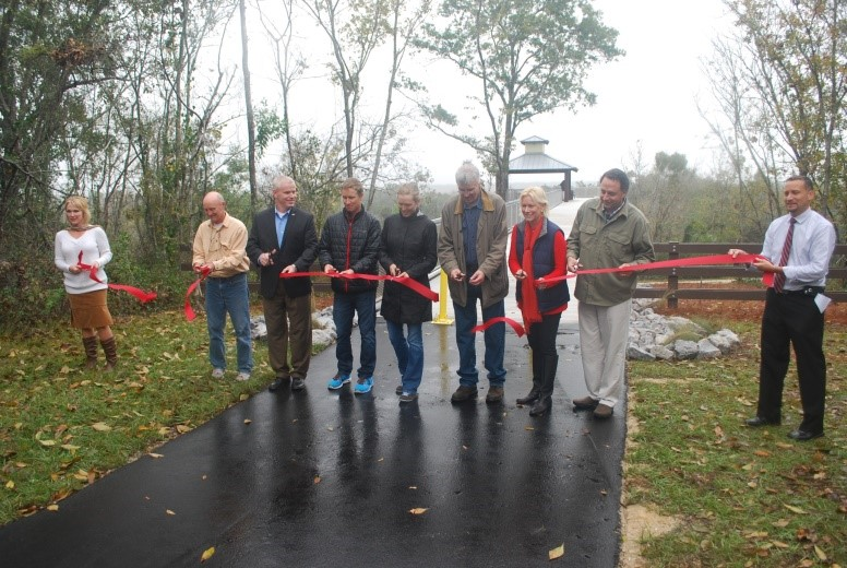 Rainy day ribbon cutting. Opening of the Scenic Overlook December 7, 2014