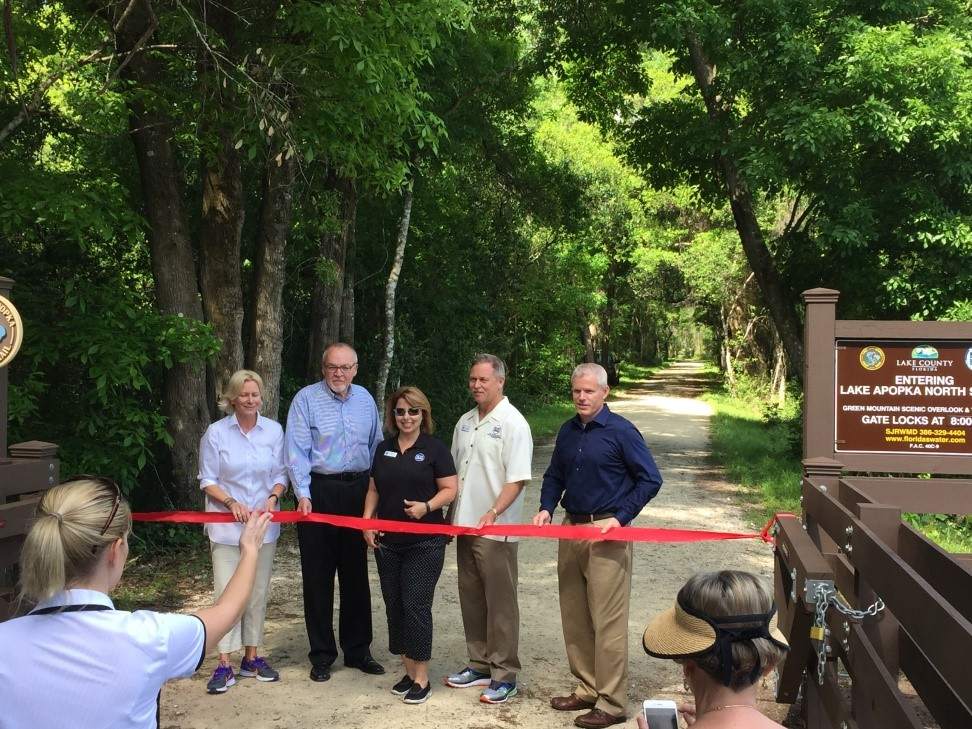Ribbon cutting for Lake Apopka Loop Trail connecting to Scenic Overlook, April 7, 2016