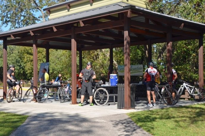 Rest stop for the bicycle ride on the Lake Apopka Loop Trail as part of the Connect the Trails Ride, November 10, 2019.